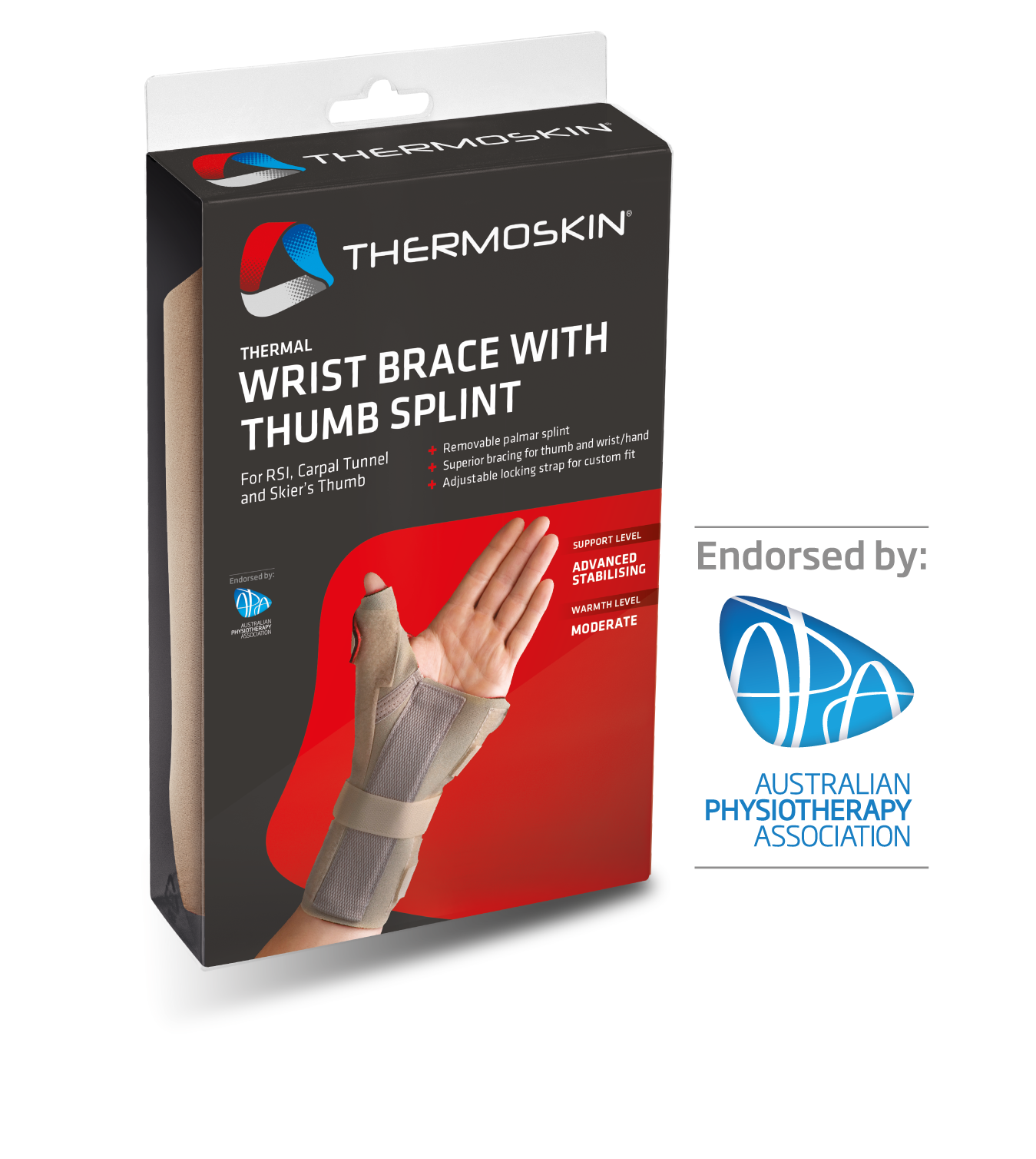 Thermoskin Thermal Wrist Brace with Thumb Splint - Left 8*238 Right 8*239